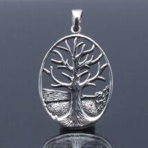 Ezüst medál életfa,antikolt, ovális