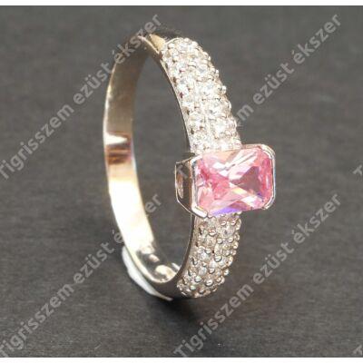 Ezüst gyűrű,női, rózsaszín és fehér cirkóniával 62-es