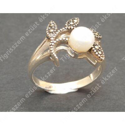 Ezüst gyűrű,női, tenyésztett gyöngy+markazit díszítésel.56-os