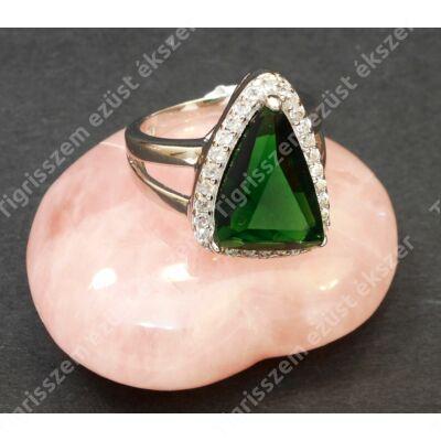 Ezüst gyűrű,női, zöld és fehér cirkóniával 51-es