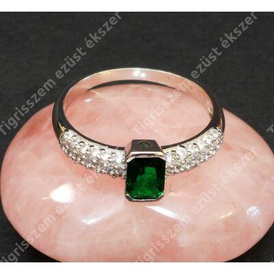Ezüst gyűrű ,női,  fehér és zöld cirkóniával  64-es