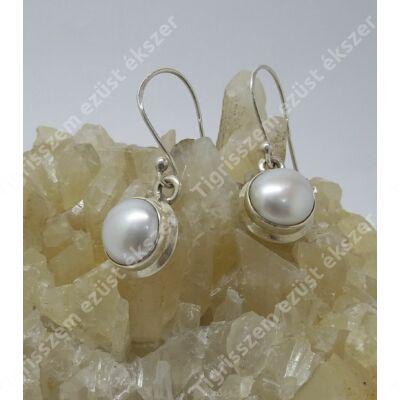 Ezüst  fülbevaló édesvízi tenyésztett gyönggyel