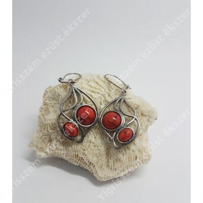 Ezüst + korall fülbevaló,csüngős,antikolt 2 db kő