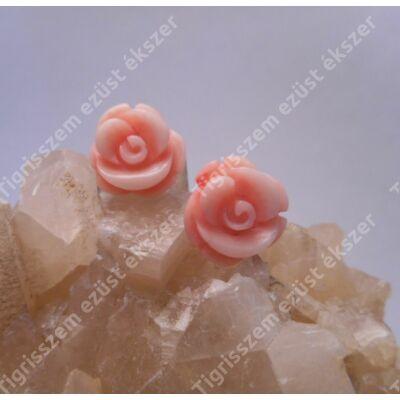 Ezüst fülbevaló világos korall,virág