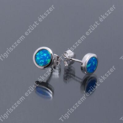 Ezüst kék opál fülsróf,kicsi kerek