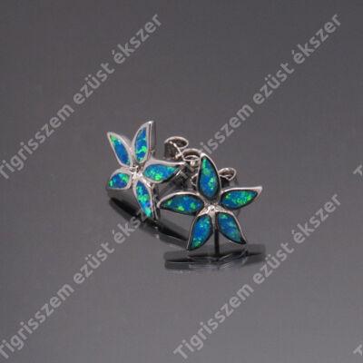 Ezüst  fülbevaló kék opállal,virág
