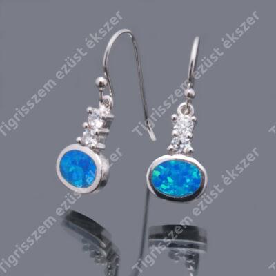 Ezüst kék OPÁL+cirkóna füli, csüngős
