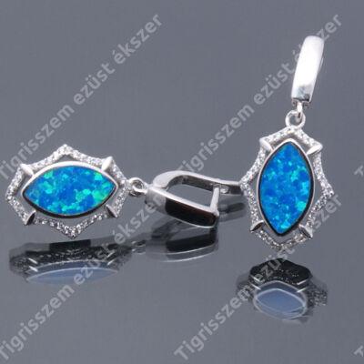Ezüst fülbevaló  kék opállal és cirkóniával ,csüngős ródiumos