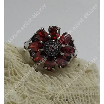 Ezüst GRÁNÁT gyűrű,virág 59-es