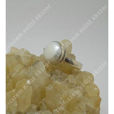 Ezüst  gyűrű édesvízi tenyésztett gyönggyel, 57-es