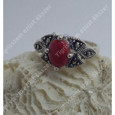 Ezüst  gyűrű  KORALL, antikolt  54-es