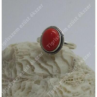 Ezüst  gyűrű KORALL,antikolt,ovális 53-as