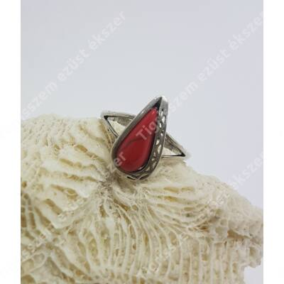 Ezüst + korall gyűrű csepp forma 56-os