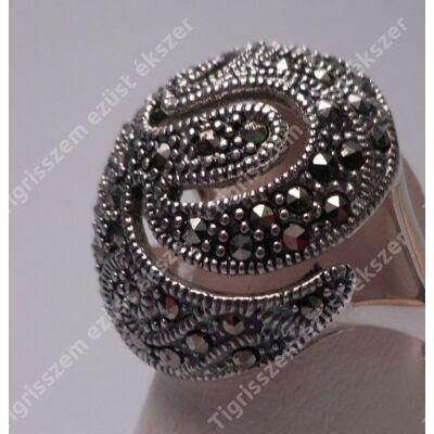 Ezüst gyűrű,női  markazittal,nagy méretű ovális fej