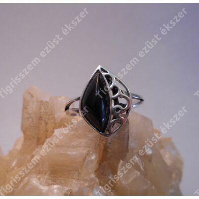 Ezüst gyűrű onix 59-es