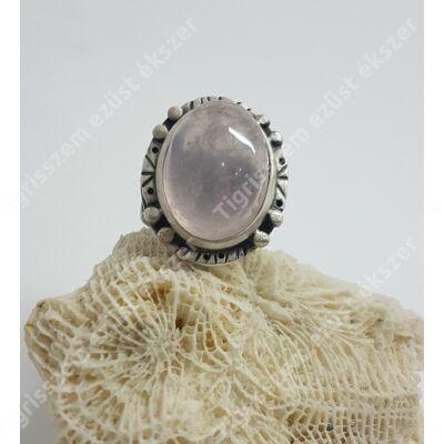 Ezüst gyűrű rózsakvarc kővel,kézzel készült 60-as