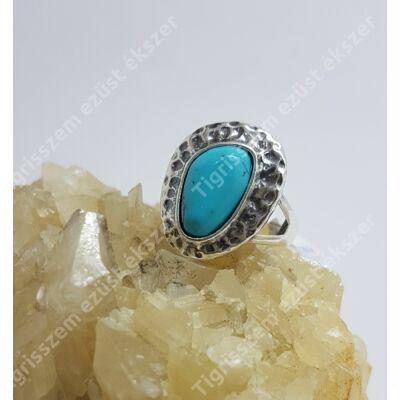 Ezüst gyűrű türkiz,antikolt 57-es