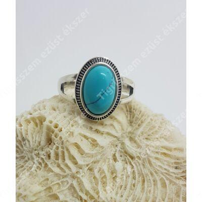 Ezüst gyűrű türkiz ,antikolt,ovális 59-es