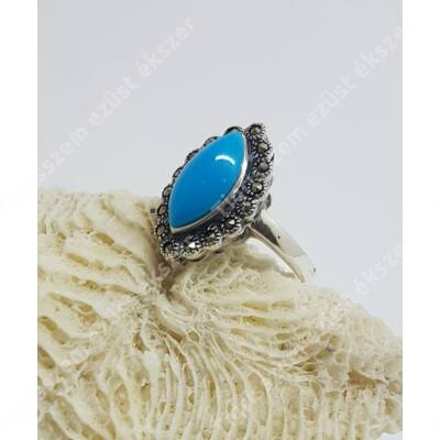 Ezüst gyűrű türkiz és markazit ,antikolt 55-ös