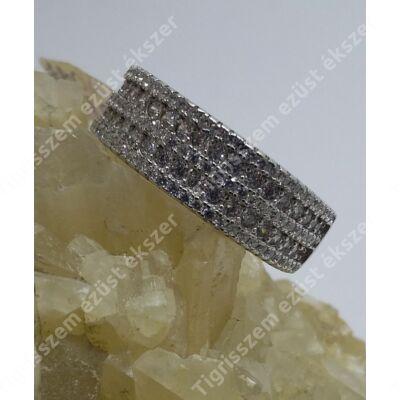 Ezüst gyűrű 5 soros fehér cirkónia kövel,  54-es