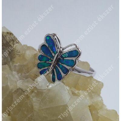 Ezüst kék OPÁL gyűrű,lepke 63-as