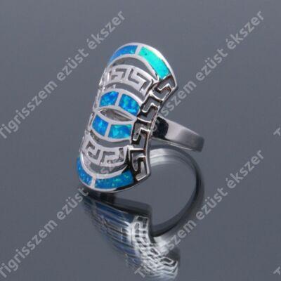 Ezüst  női gyűrű kék opállal görögös minta 54-es