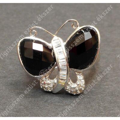 Ezüst gyűrű onix és cirkónia kövekkel