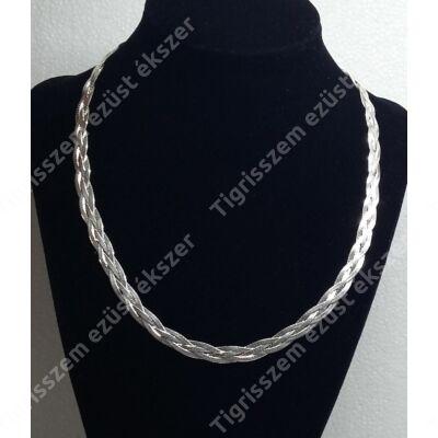 Ezüst  lánc ,nyakék,széles lapos,3 szálból fonott, 45 cm