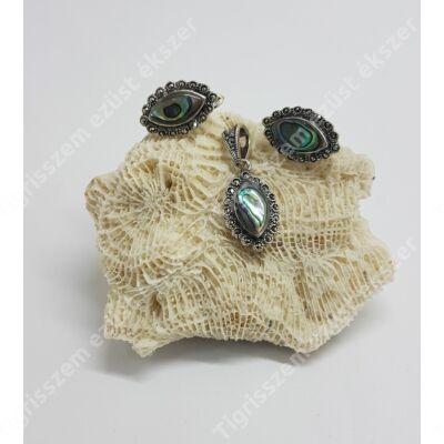 Ezüst páva kagyló és markazit  fülbevaló medál szett,zabszem forma