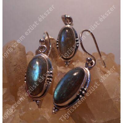 Ezüst medál és füli szett VALÓDI LABRADORIT kővel