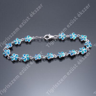 Ezüst kék OPÁL kkötő,kisvirág