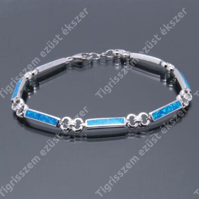 Ezüst karkötő,karlánc   kék opál. 20 cm