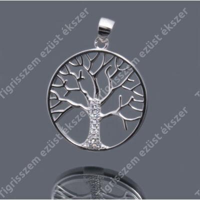 Ezüst cirkónia  medál életfa,kerek
