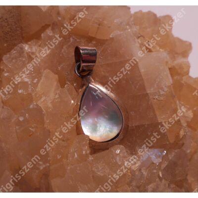 Ezüst medál  gyöngyház ,csepp forma