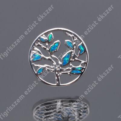Ezüst kék OPÁL medál kerek,életfa