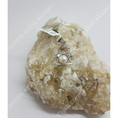 Ezüst medál fehér cirkóniával és gyönggyel,angyal