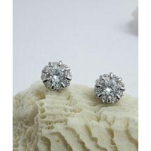 Ezüst fülbevaló,8 szírmú virág, cirkónia kővel