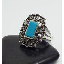 Ezüst gyűrű türkiz+markazit 59-es