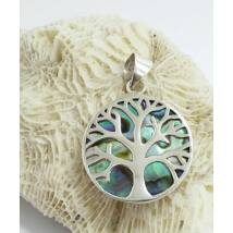 Ezüst páva kagyló medál, életfa