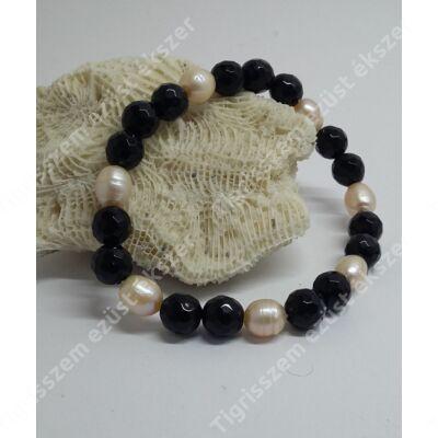 Karkötő gyöngy+onix 19,5 cm