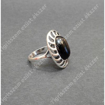 Ezüst  női gyűrű onix köves   56-OS