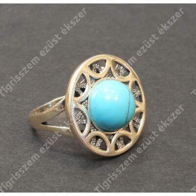 Ezüst  női gyűrű türkizzel   55-as