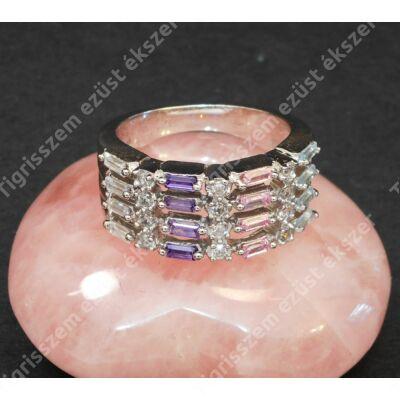 Ezüst gyűrű ,női ,fehér és színes cirkóniával ,54-es