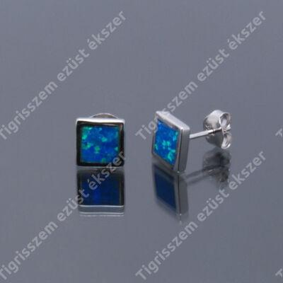 Ezüst fülsróf  szögletes,kék opál,közepes
