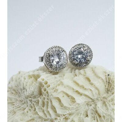 Ezüst fülbevaló 1 nagy kő+apró cirkónia kövek