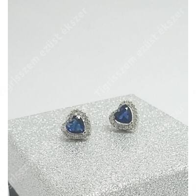 Ezüst fülsróf,szív cirkónia kövekkel