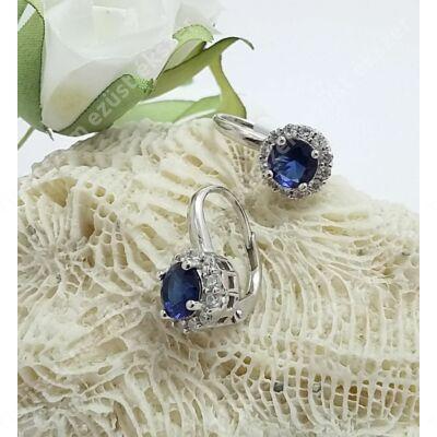 Ezüst fülbevaló,kék-fehér cirkónia kövekkel