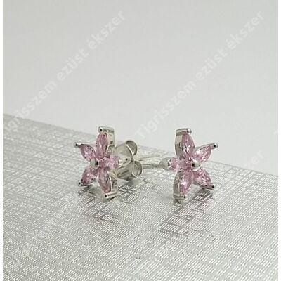 Ezüst sróf rózsaszín cirkónia kővel