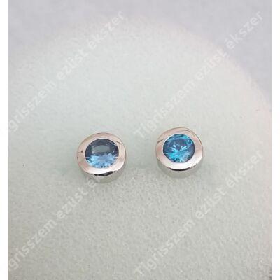 Ezüst fülbevaló,kerek,kék