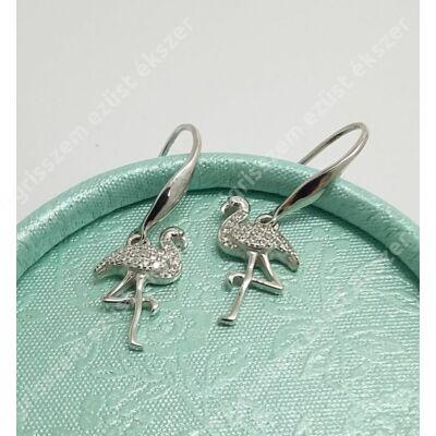 Ezüst fülbevaló,flamingó